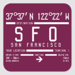 San Francisco Airport Code Square Stickers