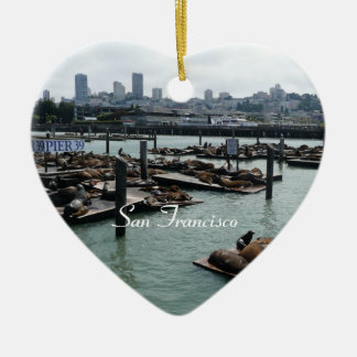 San Francisco and Pier 39 Sea Lions City Skyline Ceramic Heart Decoration