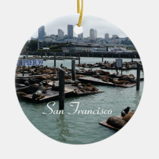 San Francisco and Pier 39 Sea Lions City Skyline Christmas Ornament