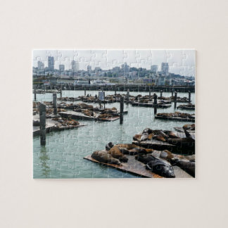San Francisco and Pier 39 Sea Lions City Skyline Jigsaw Puzzle