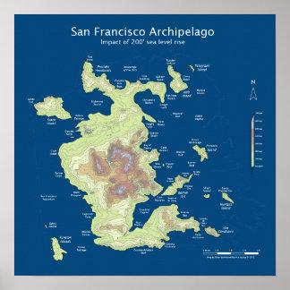 "San Francisco Archipelago, 200' sea level rise 16"" Poster"
