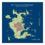 "San Francisco Archipelago, 200' sea level rise 24"" Poster"