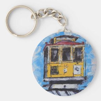 San Francisco Art, Cable Car Painting, California Basic Round Button Key Ring