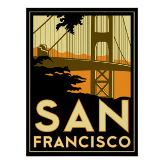 san francisco art deco retro poster