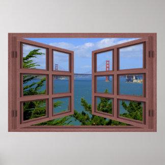 San Francisco Bay 6 Pane Open Window Poster