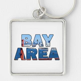 San Francisco Bay Area Silver-Colored Square Key Ring