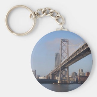 San Francisco bay bridge on a sunny morning Basic Round Button Key Ring