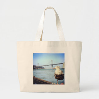 San Francisco Bay Bridge Seagull Canvas Bags