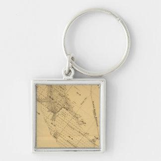 San Francisco Bay Salt Marsh Silver-Colored Square Key Ring