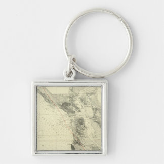 San Francisco Bay showing San Andreas Rift Silver-Colored Square Key Ring