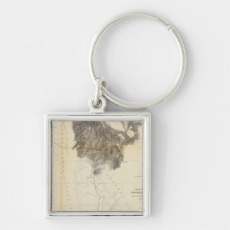 San Francisco Bay to N boundary of California Silver-Colored Square Key Ring