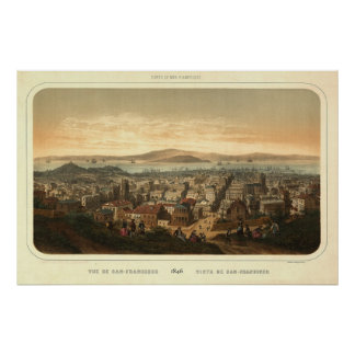 San Francisco Birdseye Panoramic Map 1846 Print
