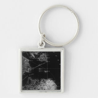 San Francisco Black and White Map Silver-Colored Square Key Ring