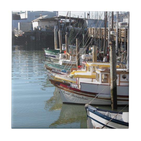 San Francisco Boats Small Square Tile