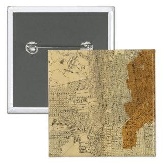 San Francisco burnt area, 1906 15 Cm Square Badge