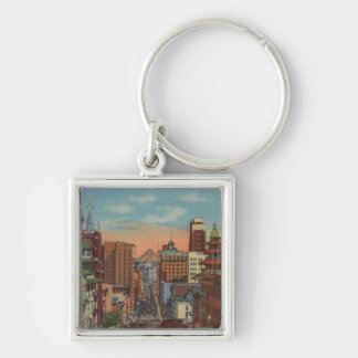 San Francisco, CA - Cable Cars going up Silver-Colored Square Key Ring