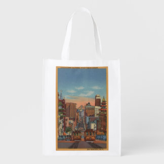 San Francisco, CA - Cable Cars going up Reusable Grocery Bags