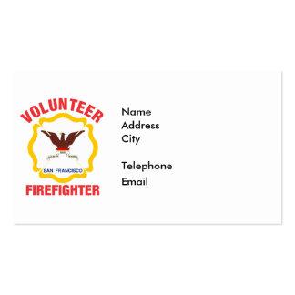 San Francisco, CA Flag Volunteer Firefighter Cross Pack Of Standard Business Cards