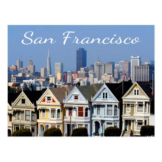 San Francisco CA Painted Ladies Skyline States Postcard