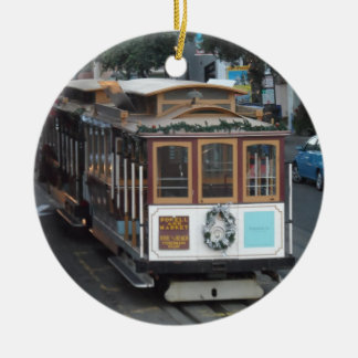 San Francisco Cable Car Double-Sided Ceramic Round Christmas Ornament