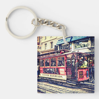 san francisco cable car Double-Sided square acrylic key ring