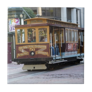 San Francisco Cable Car Small Square Tile