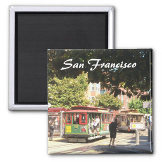 San Francisco Cable Cars Square Magnet