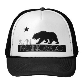 San Francisco California black bear flat hat