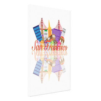 San Francisco California Downtown City Skyline Stretched Canvas Prints