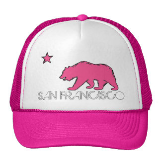 San Francisco California pink theme bear flag hat