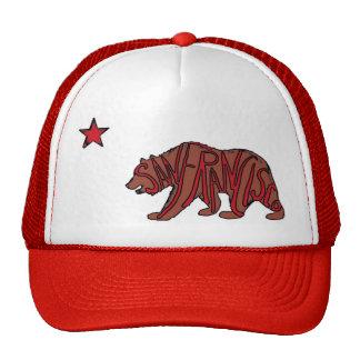 San Francisco California red bear art hat