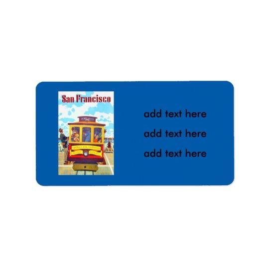 San Francisco California Trolley Car Golden Gate Address Label