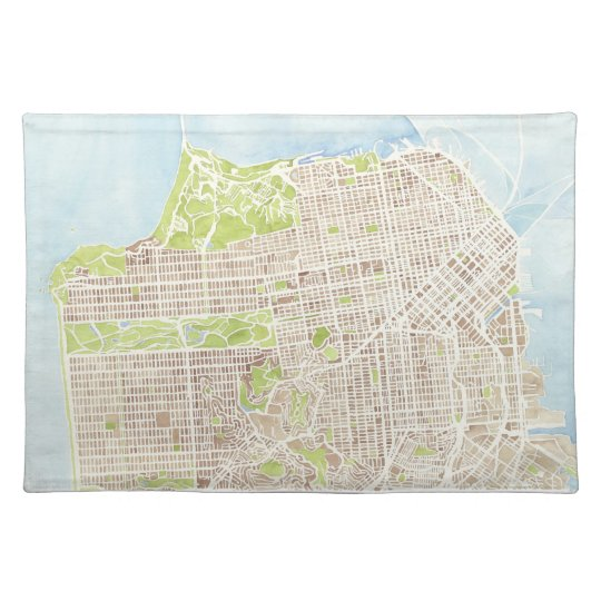 San Francisco California watercolor map placemat