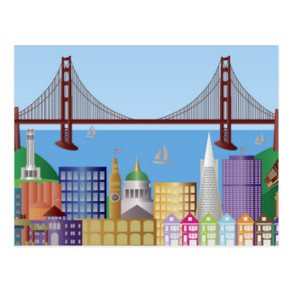 San Francisco City Skyline Drawing Illustration Po Postcard