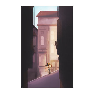 "San Francisco Couple in Love Ex Lg ""Save me SF"" Gallery Wrapped Canvas"