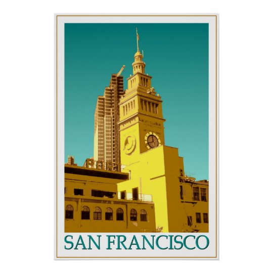 San Francisco Ferry Building - Pop Art Poster