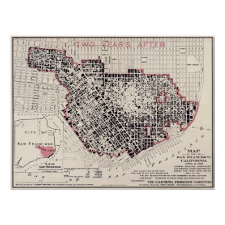 San Francisco fire map - 1908 (Punnet Bros) BigMap Poster