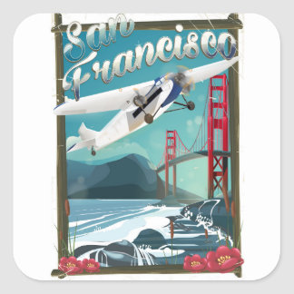 San Francisco Flight travel poster Square Sticker