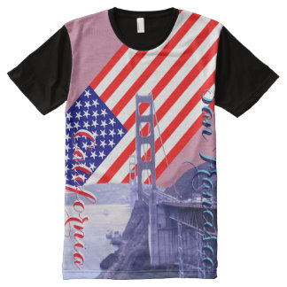 San Francisco Golden Gate American Flag All-Over Print T-Shirt