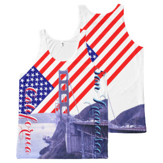 San Francisco Golden Gate US Flag Stars & Stripes All-Over Print Tank Top