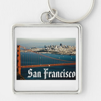 San Francisco Keychain Silver-Colored Square Keychain