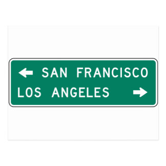 San Francisco Los Angeles Highway Sign Postcard
