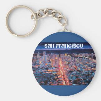 San Francisco - Market Street Night from Twin Peak Basic Round Button Key Ring