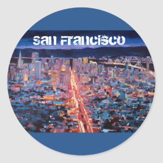San Francisco - Market Street Night from Twin Peak Round Stickers