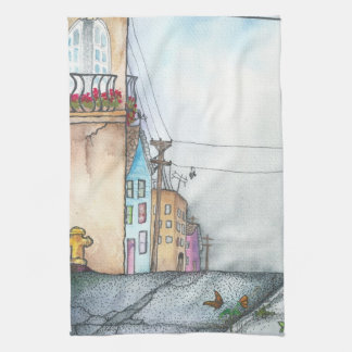 San Francisco Neighborhood Watercolor Tea Towel