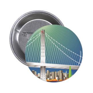 San Francisco New Oakland Bay Bridge Cityscape 6 Cm Round Badge