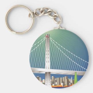 San Francisco New Oakland Bay Bridge Cityscape Basic Round Button Key Ring