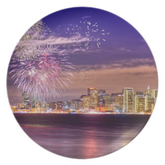 San Francisco New Year Fireworks Plate