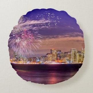 San Francisco New Year Fireworks Round Cushion