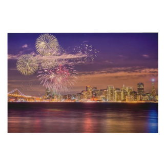 San Francisco New Year Fireworks Wood Print